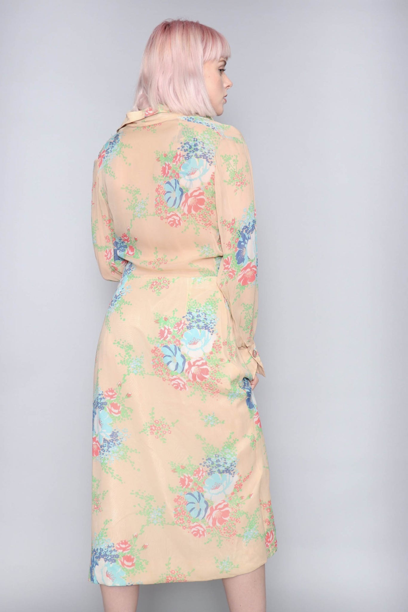 A 70s Embellished Floral Silk Dress XS