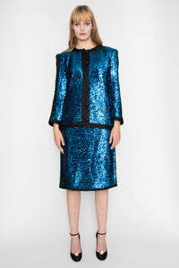 A 1980s Yves Saint Laurent Rive Gauche Two Piece Sequin Skirt Suit M