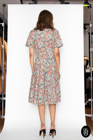A 1980s Vintage Cacharel Floral Cotton Dress M