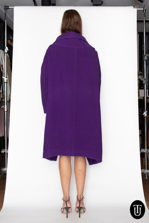 A 1980s Vintage Clauda Montana Purple Wool Coat and Skirt Ensemble