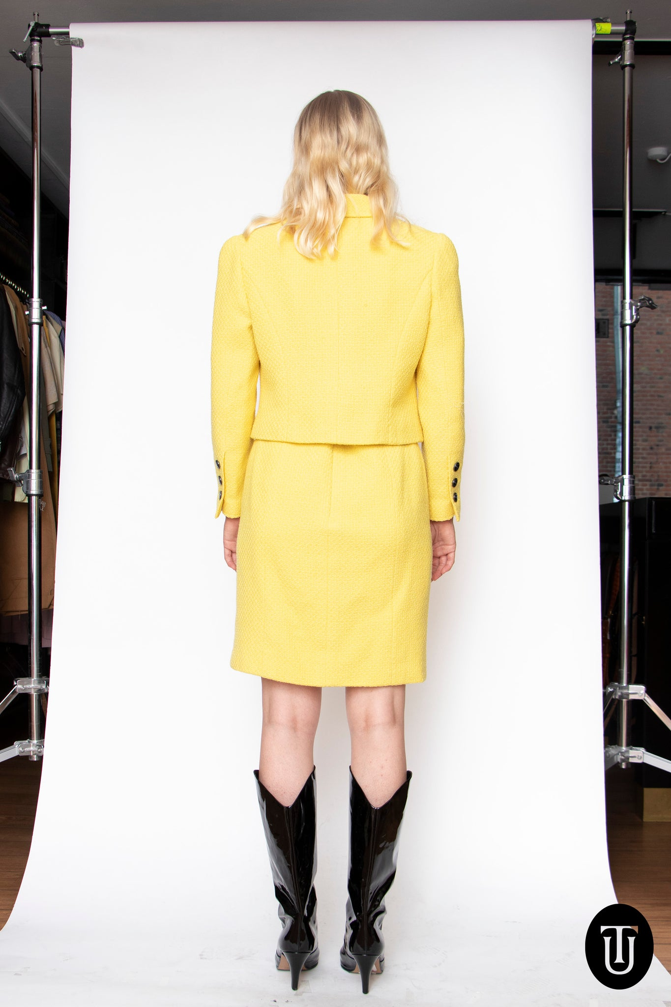 A 1997 Vintage Chanel Canary yellow Skirt Suit S