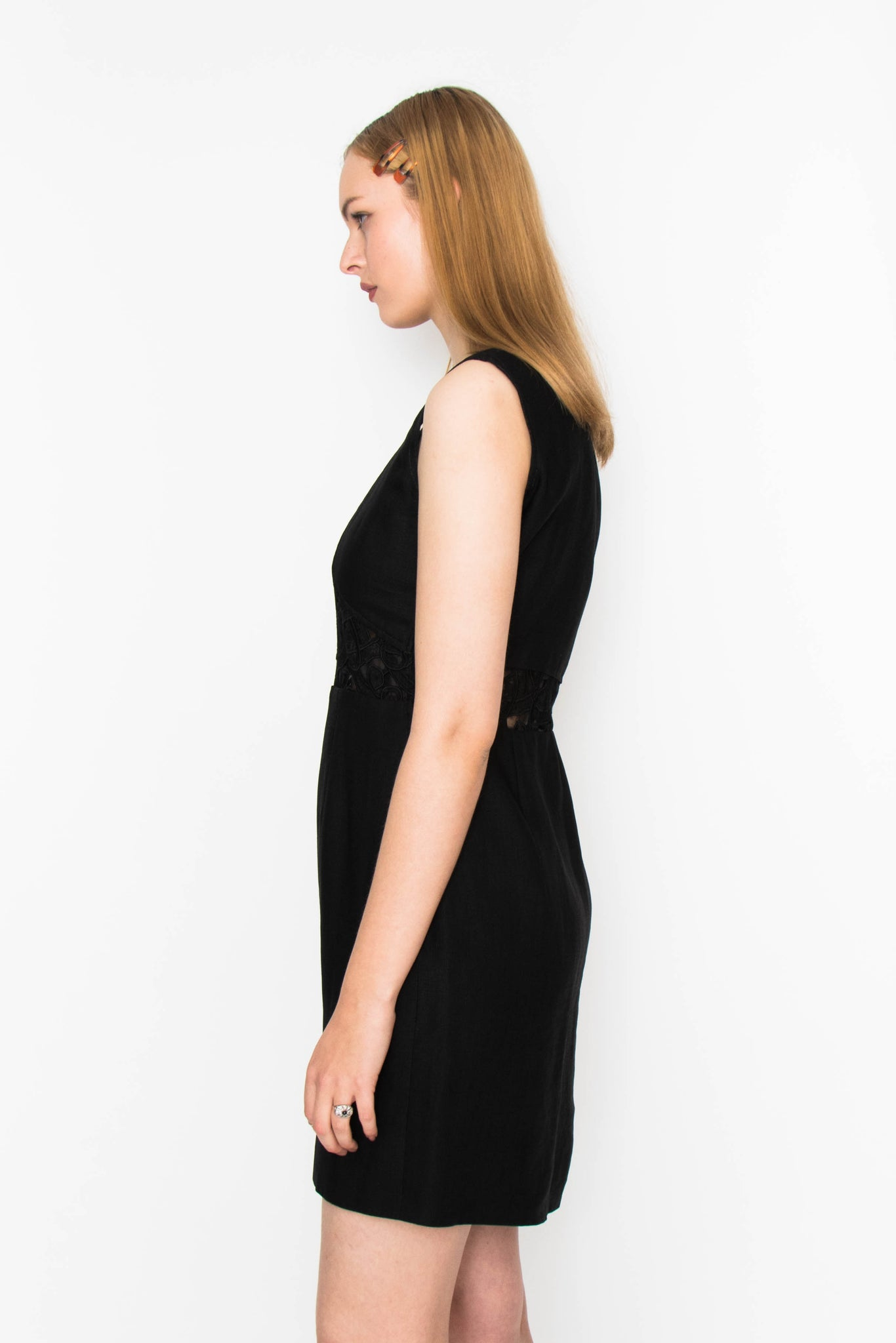 A 1990s Valentino Black Linen Day Dress S