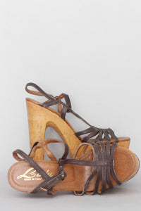 70s Brown Platform Sandals Sz 6