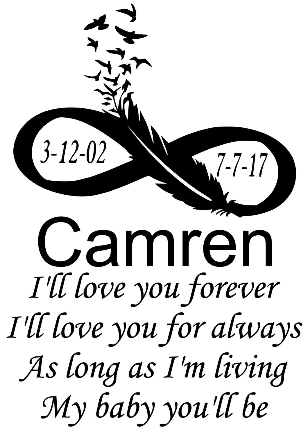 Memorial Window Decal for Camren