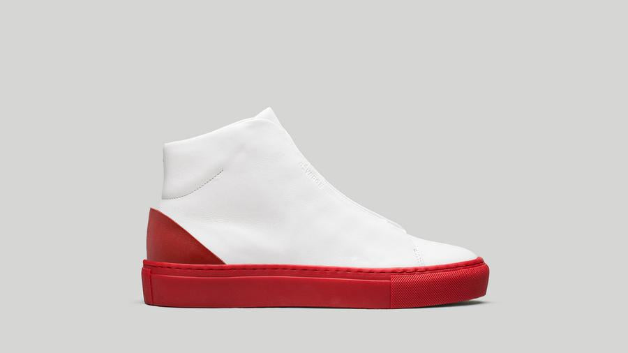 Vegan Minimal High in white with red sole