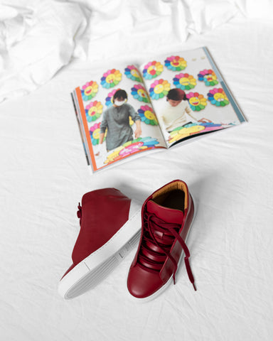 Minimal High Custom Sneakers in Red Wine Premium Leather