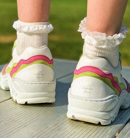 Back detail of DiVERGE Landscape sneakers customized by Vienna Skye