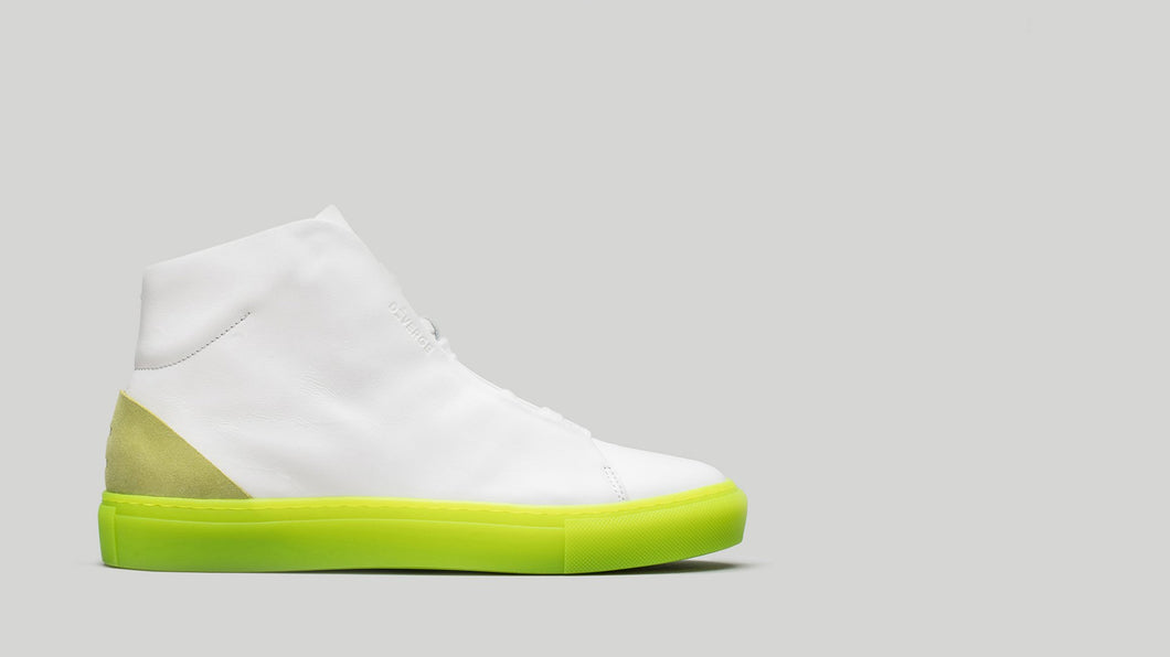 MINIMAL HIGH V4 White Leather W/Lime