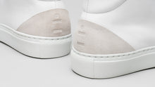Load image into Gallery viewer, Detail from the back of the DiVERGE Minimal High White Canvas sneakers/trainers
