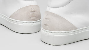 Detail from the back of the DiVERGE Minimal High White Canvas sneakers/trainers
