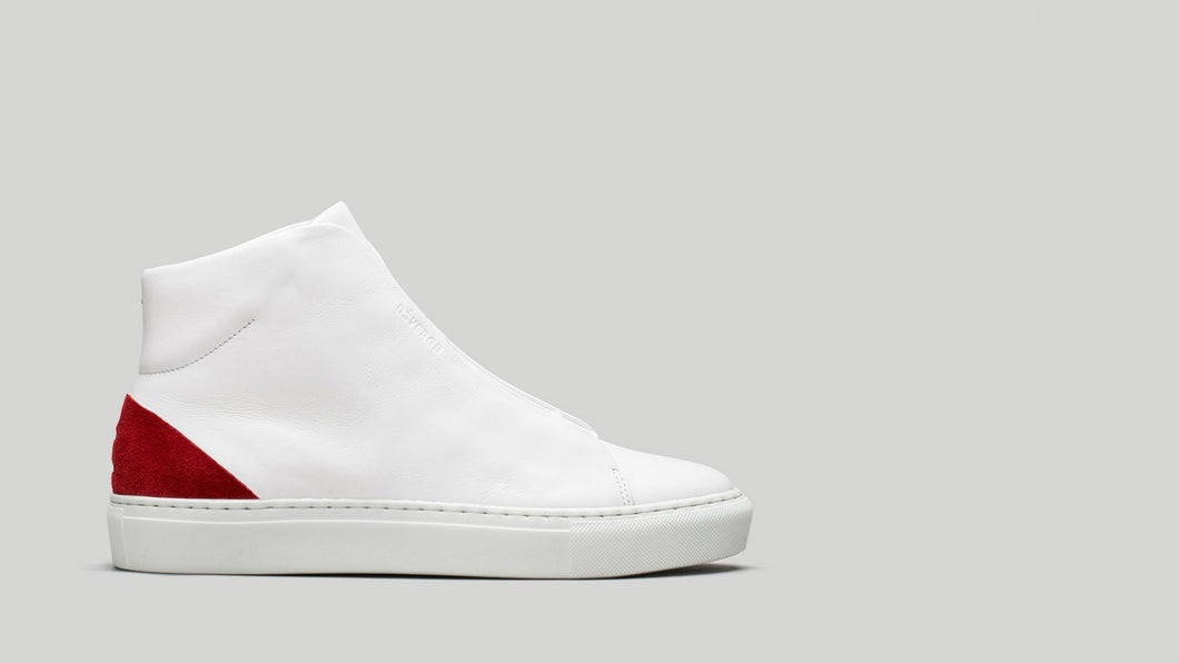 MINIMAL HIGH V19 White Leather W/ Scarlet