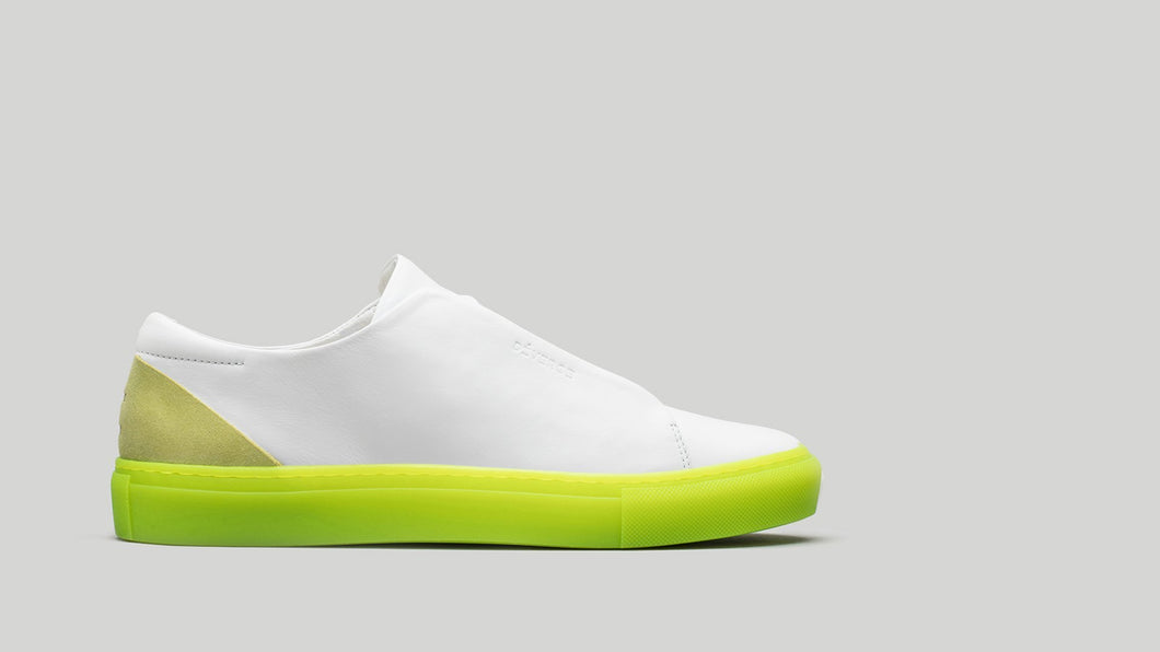 MINIMAL LOW V14 White Leather W/ Yellow