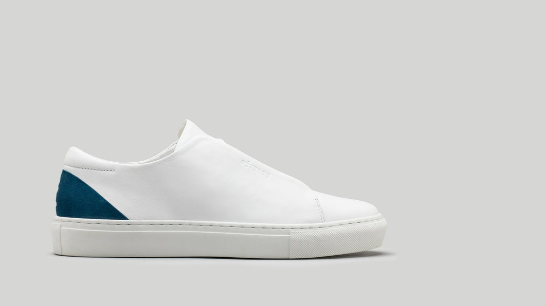 MINIMAL LOW V16 White Leather W/ Petrol Blue