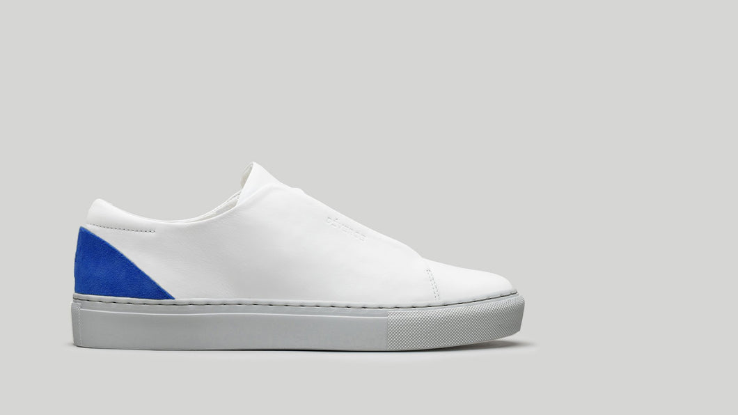 MINIMAL LOW V18 White Leather W/ Electric Blue