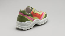 Load image into Gallery viewer, A back view of the DiVERGE Landscape sneakers in Lime Leather Color Mix