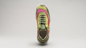 The DiVERGE Landscape sneakers in Lime Leather Color Mix seen from the top
