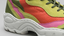 Load image into Gallery viewer, DiVERGE Landscape sneakers in Lime Leather Color Mix: side detail