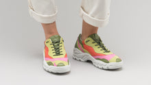 Load image into Gallery viewer, DiVERGE Landscape sneakers in Lime Leather Color Mix on feet