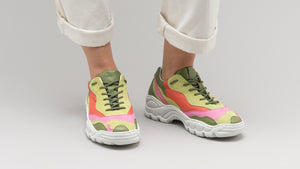 DiVERGE Landscape sneakers in Lime Leather Color Mix on feet