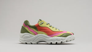 Side view of the DiVERGE Landscape sneakers in Lime Leather Color Mix