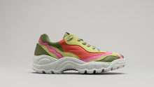 Load image into Gallery viewer, Side view of the DiVERGE Landscape sneakers in Lime Leather Color Mix