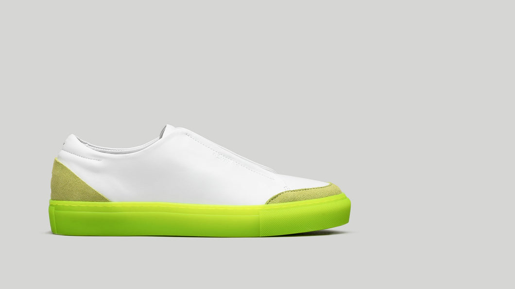 SLIP ON V9 White Leather W/Lime