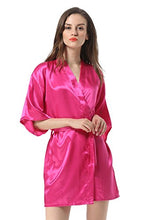 Load image into Gallery viewer, Vogue Forefront Women's Satin Plain Short Kimono Robe Bathrobe