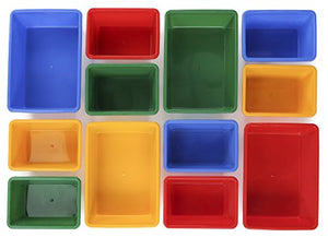 Toy Storage Organizer with 12 Plastic Bins,