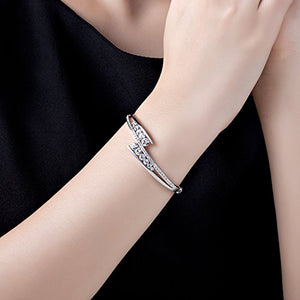 Silver Bracelet Swarovski Bangle Jewelry