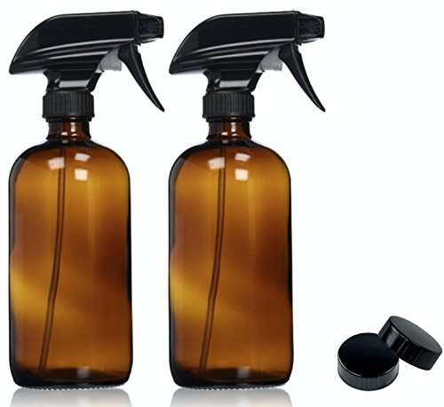 Amber Glass Spray Bottles with Labels