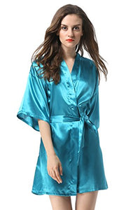 Vogue Forefront Women's Satin Plain Short Kimono Robe Bathrobe