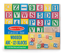 Load image into Gallery viewer, Wooden ABC/123 Blocks Set With Storage Pouch