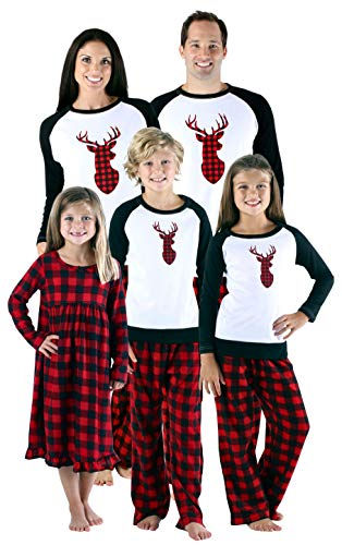 SleepytimePjs Holiday Family Matching Fleece Deer Plaid Pajama PJ Sets