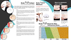 Body Fat Caliper, Body Tape Measure, BMI Calculator - Instructions For Skinfold Caliper and Body Fat Charts Included: Lightstuff Body Health Tool Kit