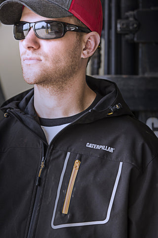 An image of A Caterpillar Cap and Sunglasses being modelled