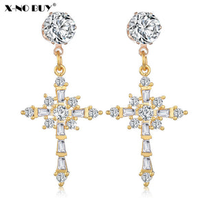 New Gold Color Metal Copper Shiny CZ Cubic Zirconia Crosses Drop Earring For Women Crucifix Dangle Earring For Female Christians