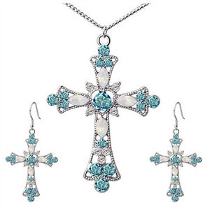 Statement Necklace for Women Choker Jesus Flower Christian Religion Jewelry Crystal Cross Pendant Necklaces Earrings Sets