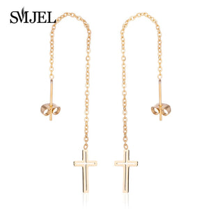 SMJEL Long Drop Earings Geometric Cross Earrings Women Long Hanging Dangle Earring Wedding Party Jewelry Cruz Pendientes Brincos