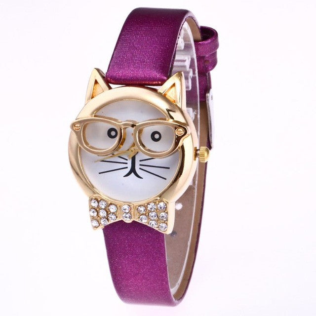 Genvivia Glasses Cat Women Analog Quartz Dial Wrist Watch