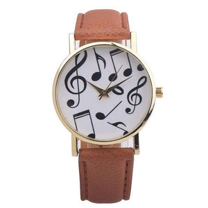 Female Musical Notes PU Leather wrist watch