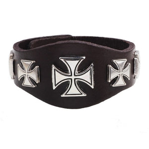 Motorcycle Big Cross Leather Bracelet