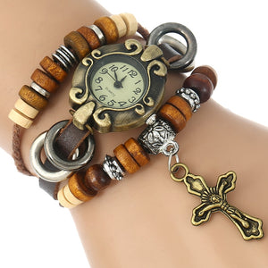 Genuine Leather Rosary Charm Jesus Christian Fashion Wristwatch