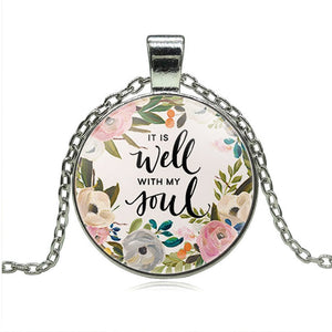 Wisdom Bible Verse It is well with MY Soul Lettering Necklace