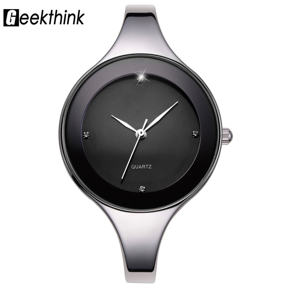 GEEKTHINK Luxury Quartz Ladies Stainless Steel Bracelet Watches