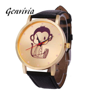 Genvivia Monkey Pattern Leather Band Women Dress Watch 20178