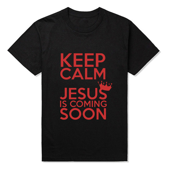 Keep Calm Jesus Is Coming Soon Catholic God Christian T Shirts