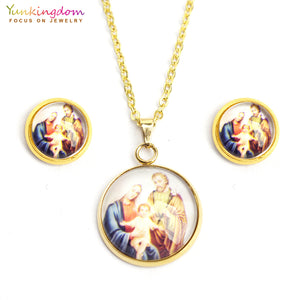 virgin mary round resin jewelry sets for women stainless steel religious jewelry set pendant necklace earring set UE0138