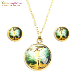 2018 new jesus jewelry sets for women hight quality stainless steel religious jewelry set titanium necklace earring set UE0130