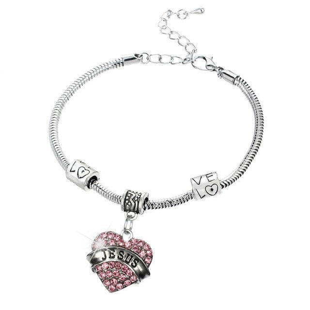 2 Colors Exquisite Jesus Crystal Heart Bracelet