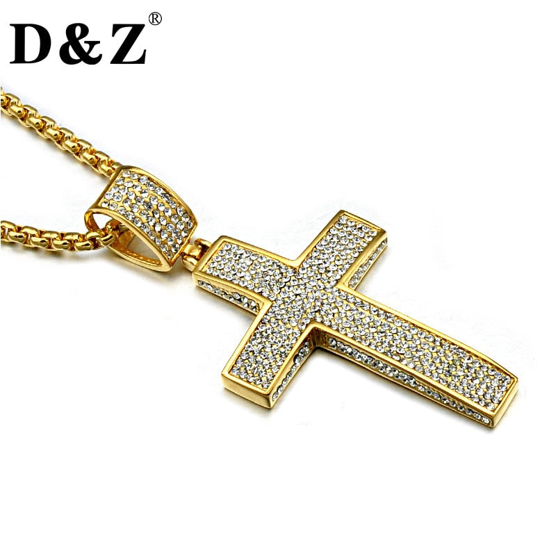Gold Color Iced Out Cross Necklace Paving